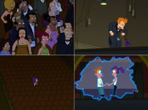 You wouldn't expect to find poignancy in paper balls thrown at crotches and purple haired cyclopeses in evening gowns, but, well, here we are. (spoiler alert if you're actually watching Futurama season 4 for the first time)